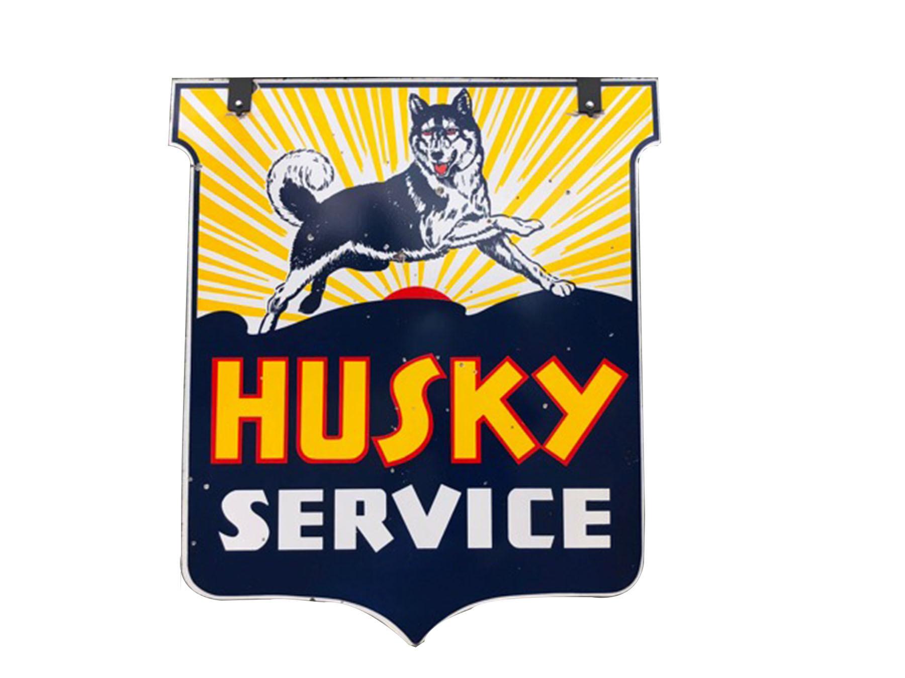 1930S-40S HUSKY OIL SERVICE STATION SIGN