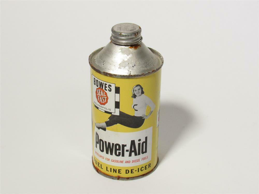 Neat 1950s Bowes Seal Fast Power-Aid Fuel Line De-Icer 12-ounce tin still full. - 218734