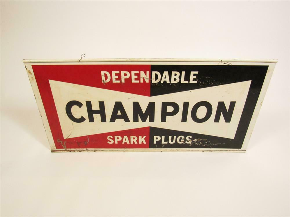 1960s Dependable Champion Spark Plugs double-sided tin automotive garage sign. - Rear 3/4 - 220439