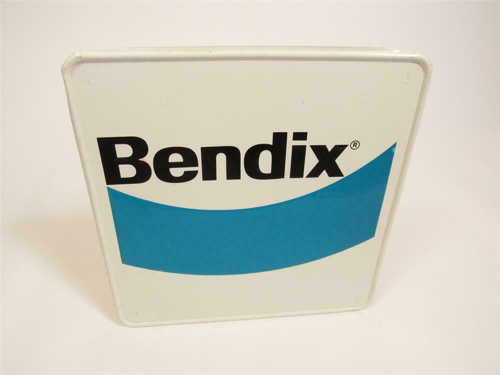 NOS Bendix Brake Parts single-sided embossed tin automotive garage sign. - Front 3/4 - 220444