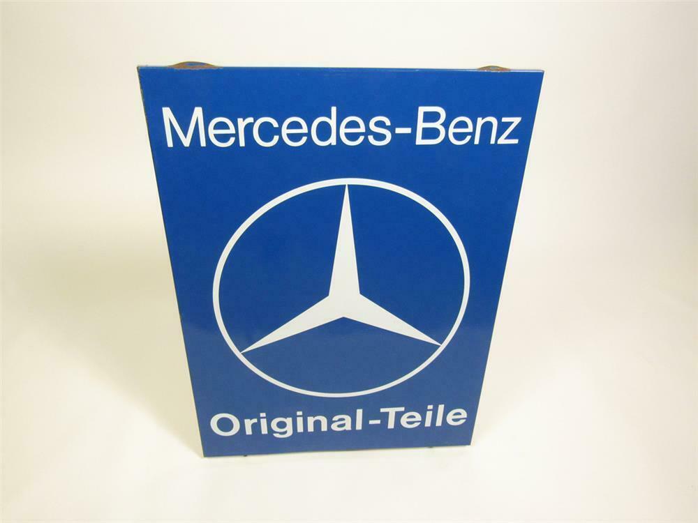 Interesting circa 1960s Mercedes-Benz Original-Teile (Original Parts) single-sided porcelain dealership sign. - Front 3/4 - 220446