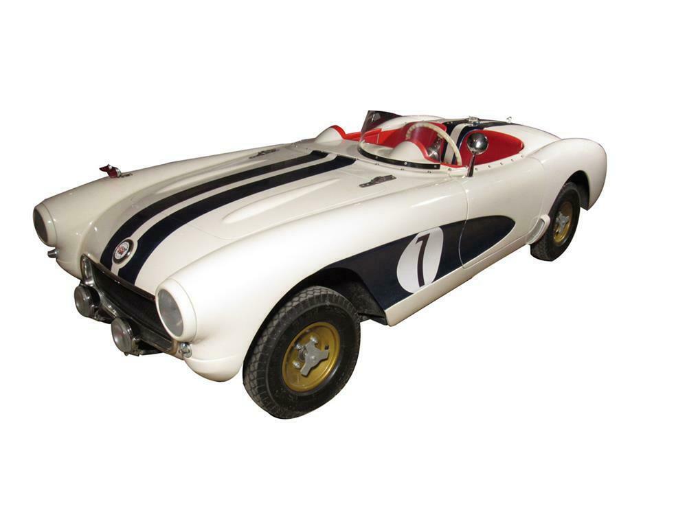 """Killer hand-built 1/3-scale 1956 Chevrolet Corvette SR Prototype (aka """"The Real McCoy"""") kiddie car. - Front 3/4 - 220447"""