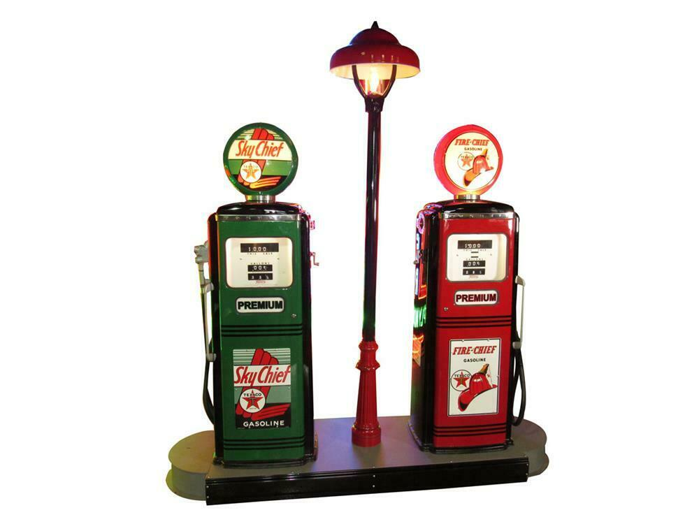 Killer circa late 1950s Texaco Oil restored service station fuel island with two original Tokheim model #300 gas pumps. - Front 3/4 - 220448