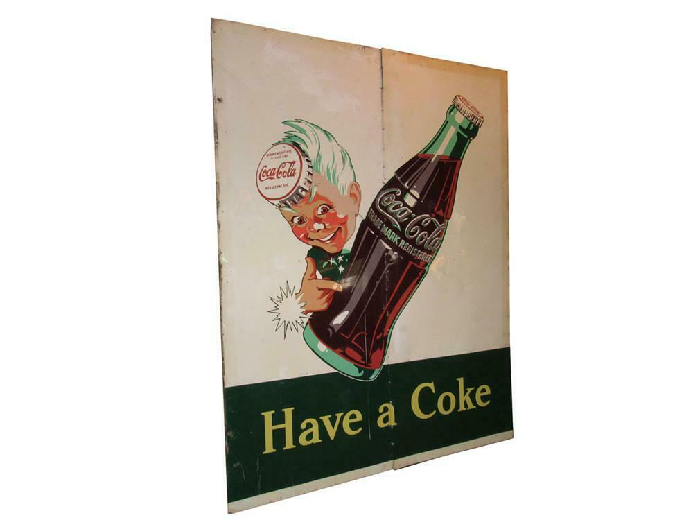 """Amazing and huge 1946 Coca-Cola """"Have a Coke"""" two-piece tin wood-framed outdoor diner/general store sign featuring the Sprite Boy logo. - Front 3/4 - 220450"""