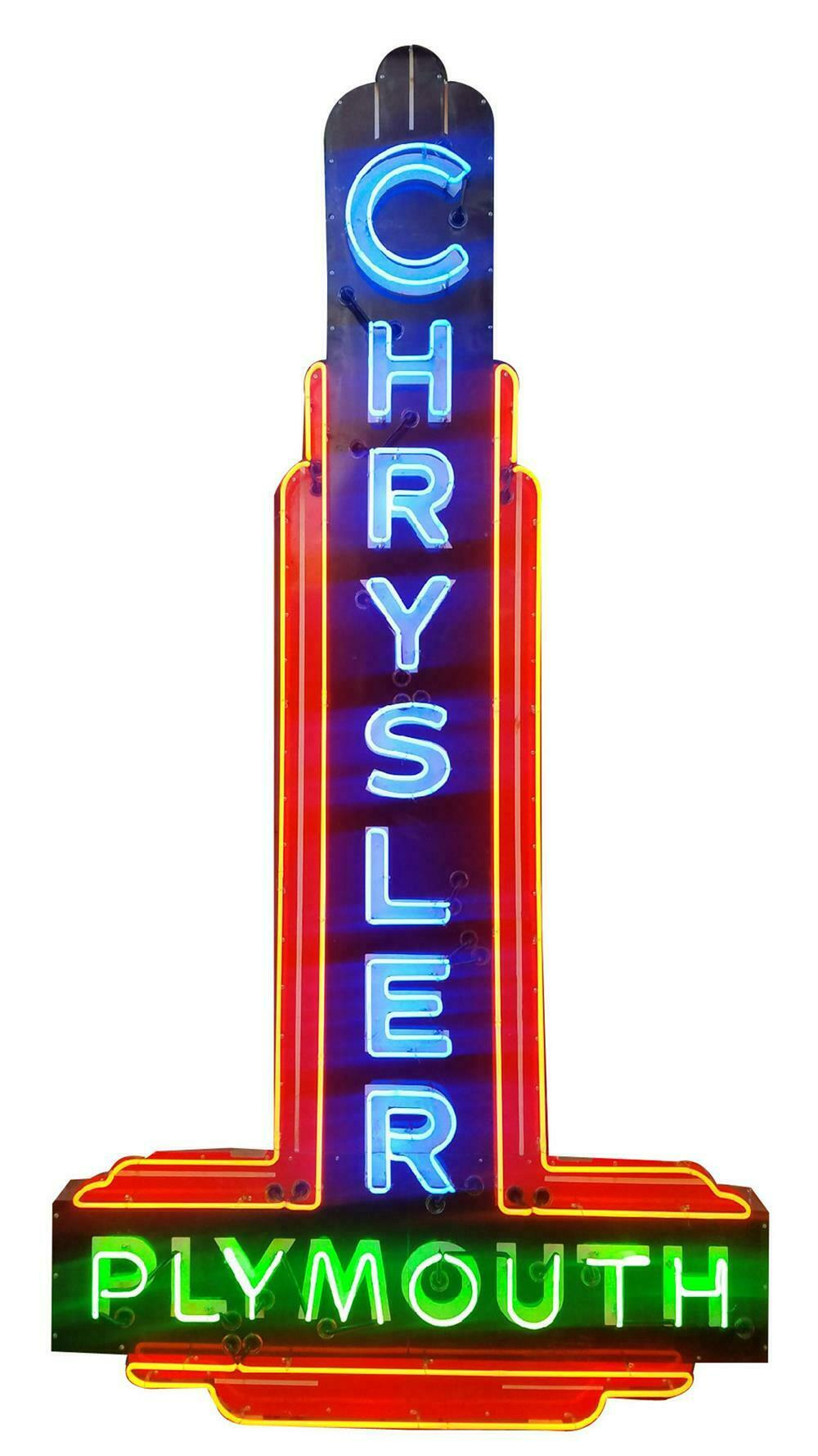 Magnificent 1940s-50s Chrysler-Plymouth single-sided porcelain dealership sign. - Front 3/4 - 220451