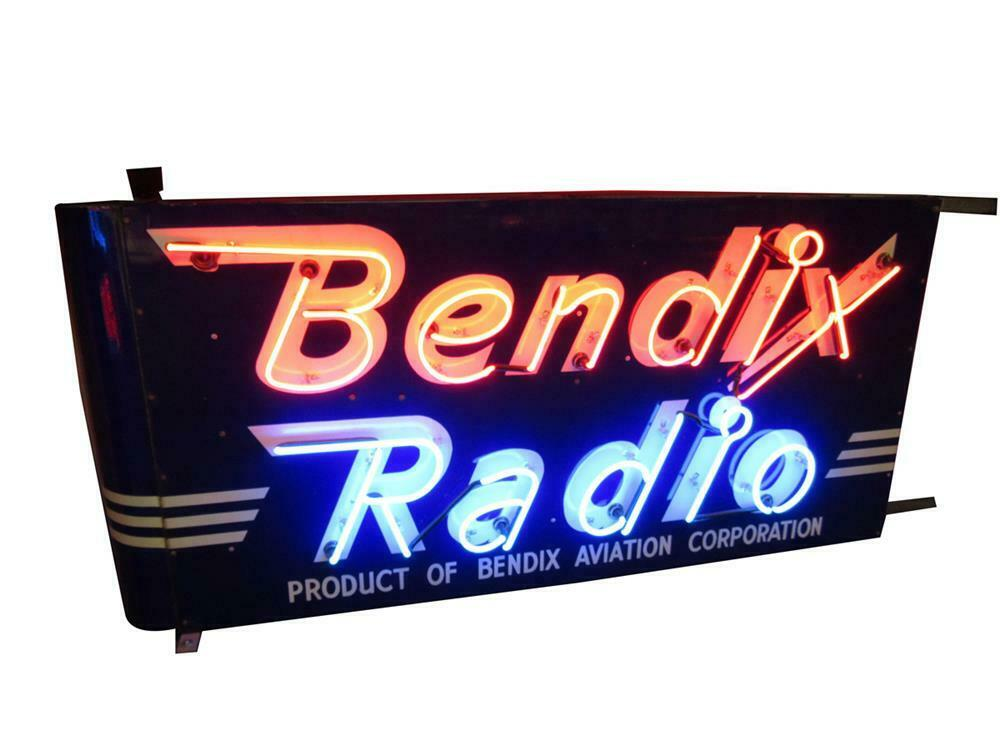 Outstanding 1930s-40s Bendix Aviation Radio double-sided porcelain airport maintenance hangar sign. - Front 3/4 - 220454