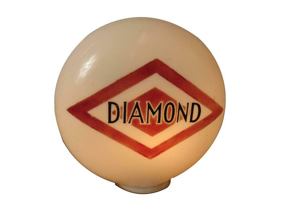 Extremely hard-to-find 1920s-30s DX Diamond Gasoline one-piece etched milk-glass gas pump globe. - Front 3/4 - 220456