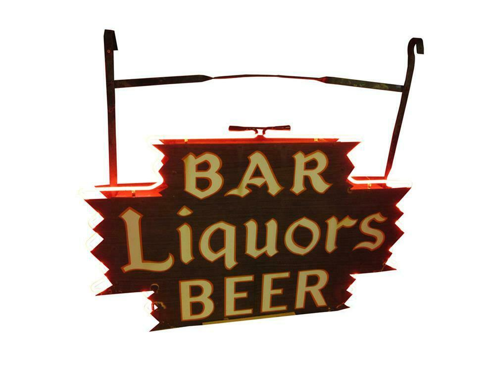 Sharp 1930s Bar-Liquors-Beer double-sided neon porcelain tavern sign. Very unusual with wood-esque porcelain finish. - Front 3/4 - 220459