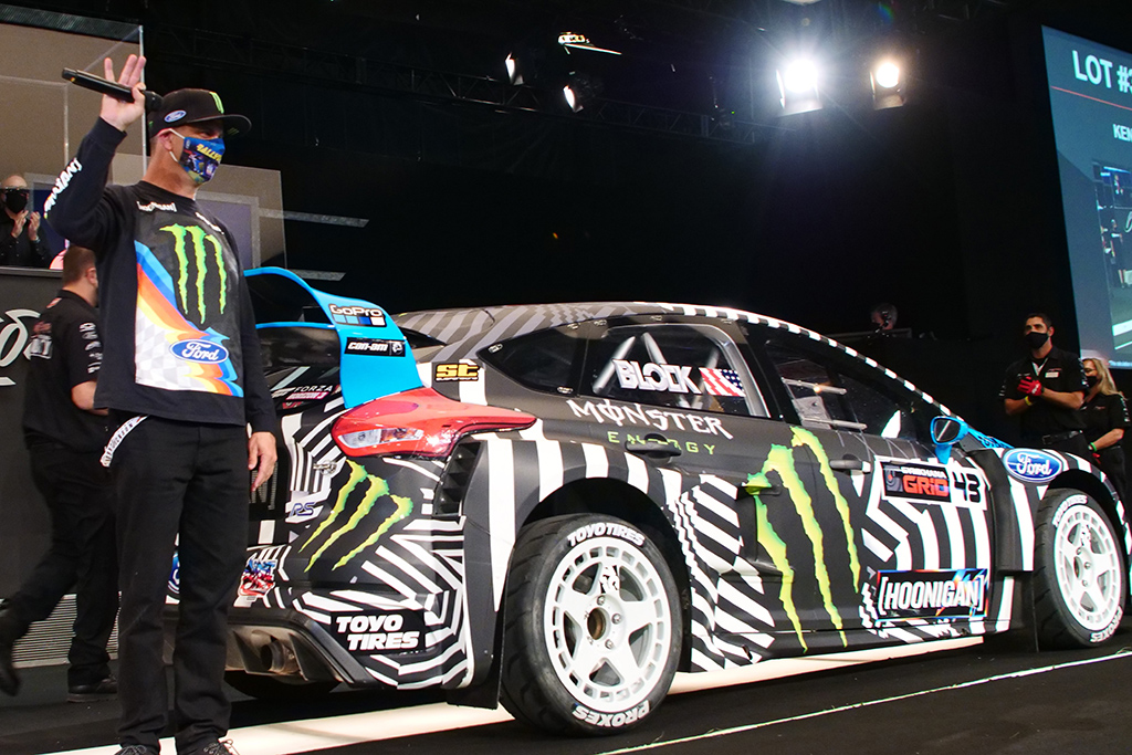 Rallycross champ Ken Block came to the stage for the sale of his 2016 Ford Focus RS RX.