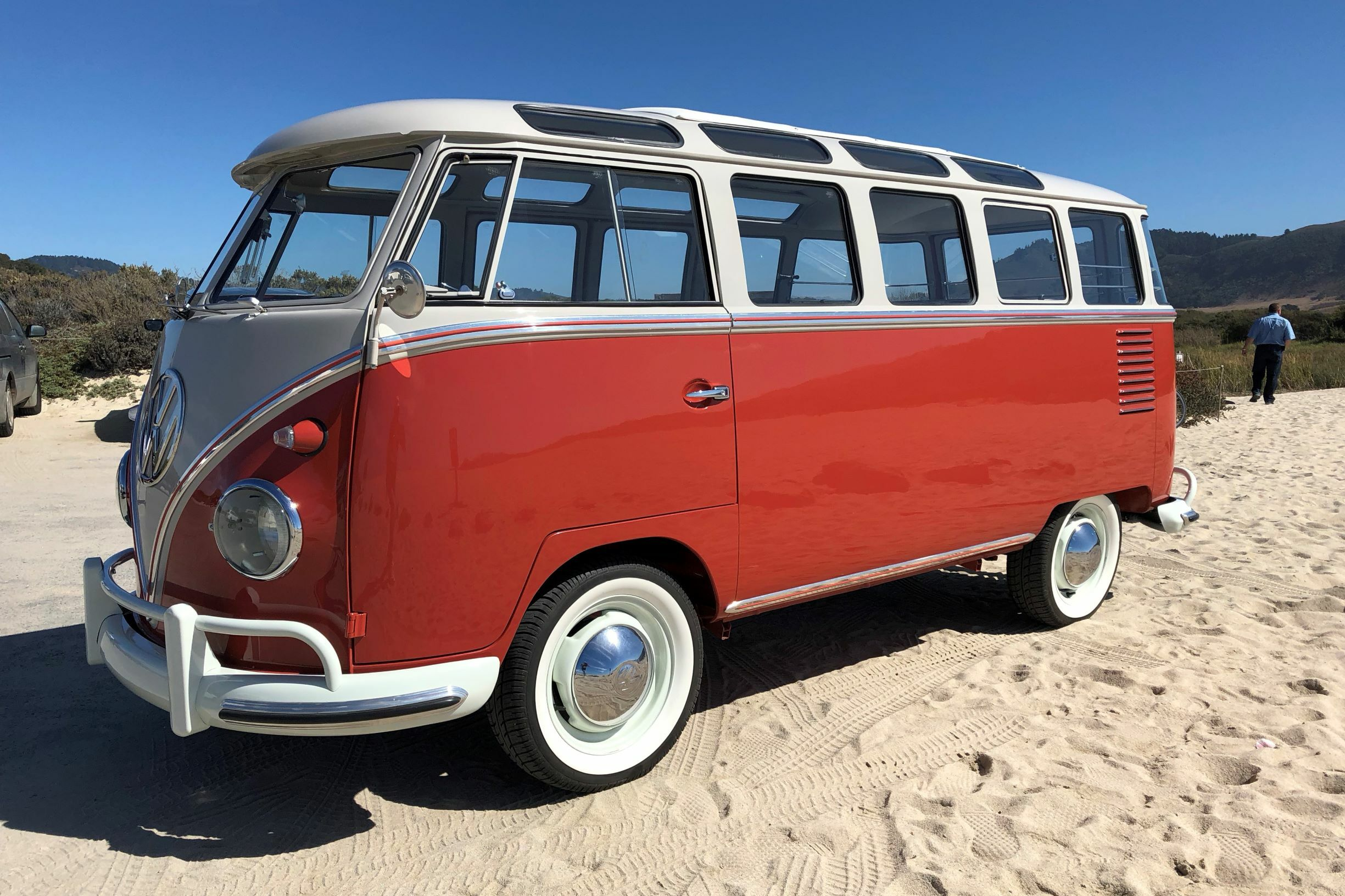 Designed by with Alpine sightseeing and mountain touring in mind, this 1959 Volkswagen 23-Window Microbus (Lot #729) has been fully restored and stands ready for that mission.