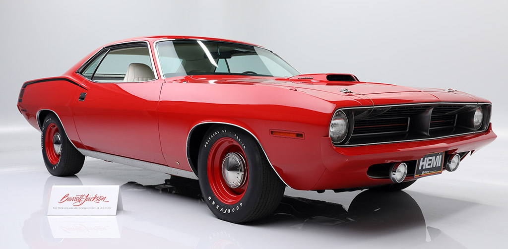 Muscle car Holy Grail: an original, matching-numbers 1970 Plymouth HEMI 'Cuda, selling with No Reserve during the 2020 Fall Auction.