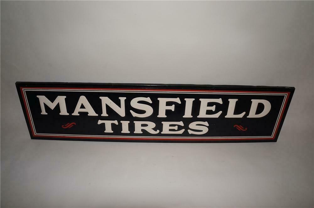 Very clean 1930s Mansfield Tires embossed tin wood framed gar