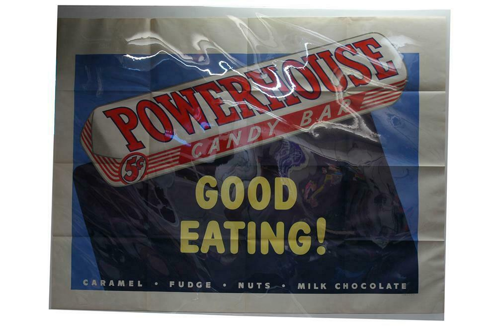 Large one piece 1930s Powerhouse Candy Bars 'Good Eating' lit