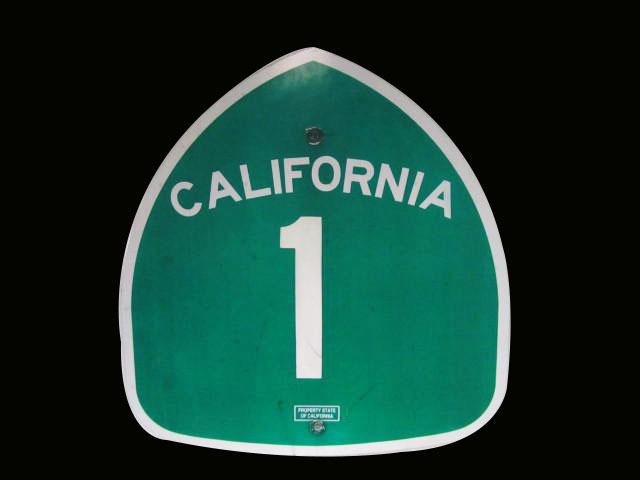 Vintage California Highway 1 'Pacific Coast Highway' metal hi