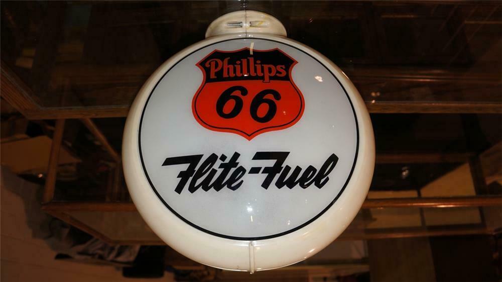 1950's Phillips 66 Flite-Fuel gas pump globe in a Capcolite b