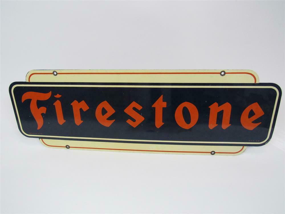 1951 Firestone Tires double-sided tin automotive garage sign.