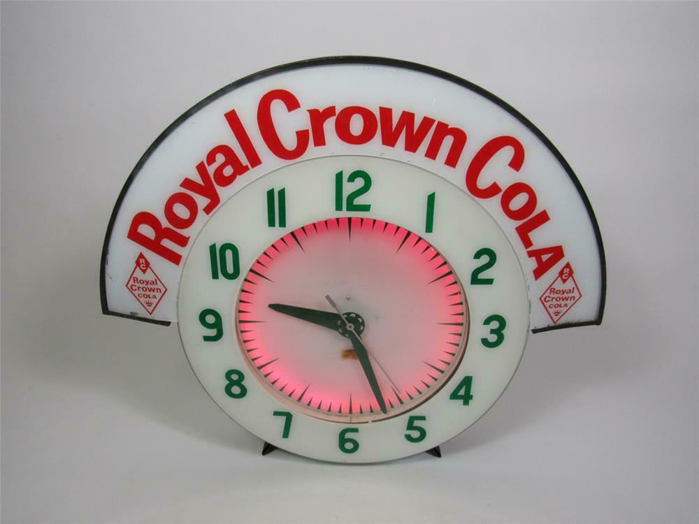 Rare all-original Royal Crown Cola neon diner clock with marq
