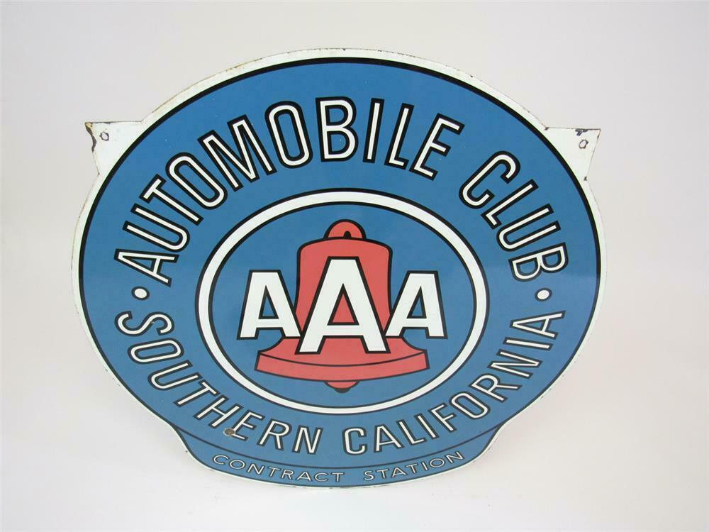 Very Unusual 1950s Southern California Automobile Club Aaa Contract Station Double Sided Porcelain Sign