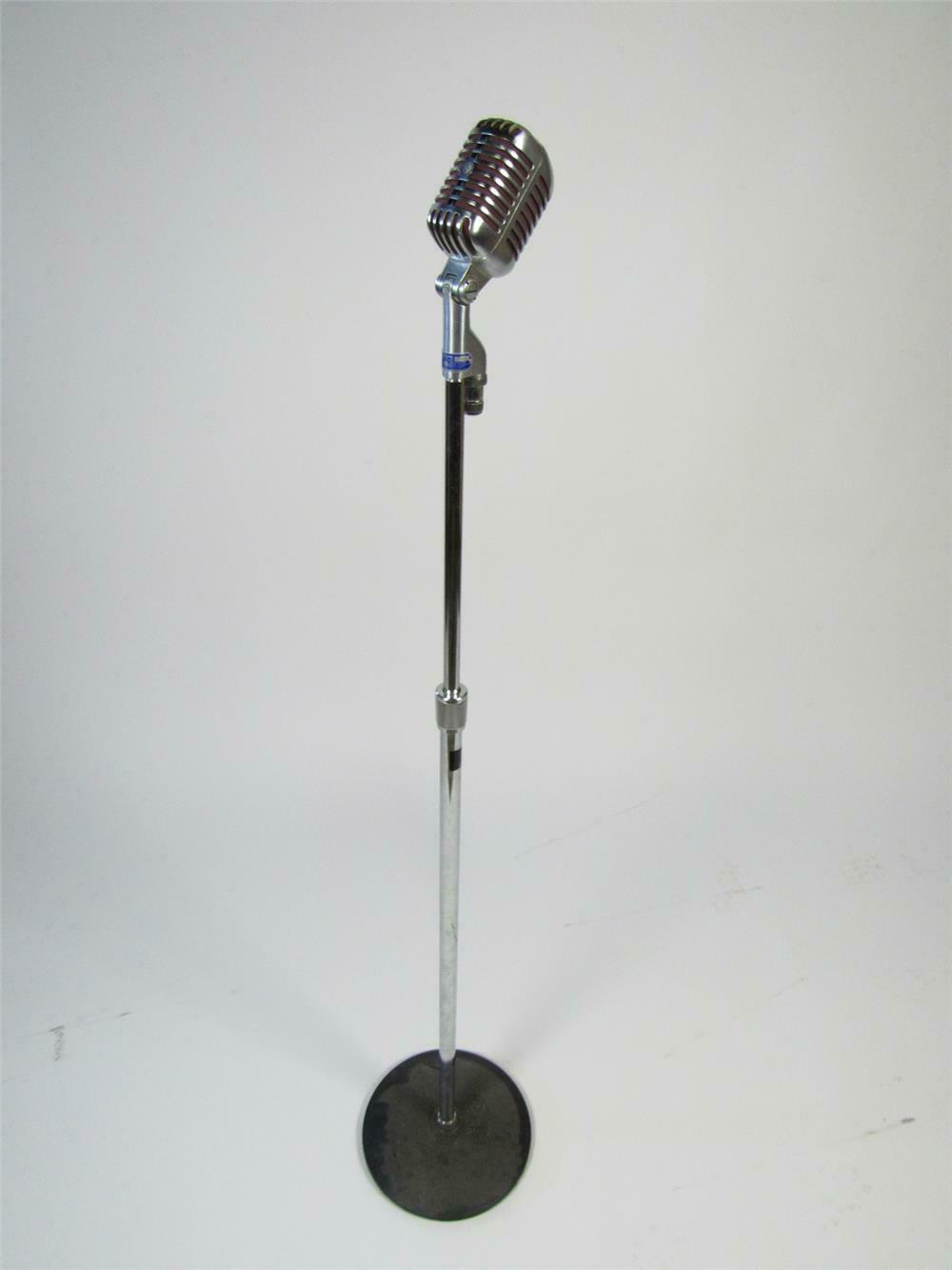 Iconic 1950s Shure Microphone on stand.