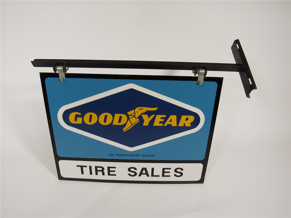 Fantastic 1960s Goodyear Tire Sales Double Sided Tin Sign Wit