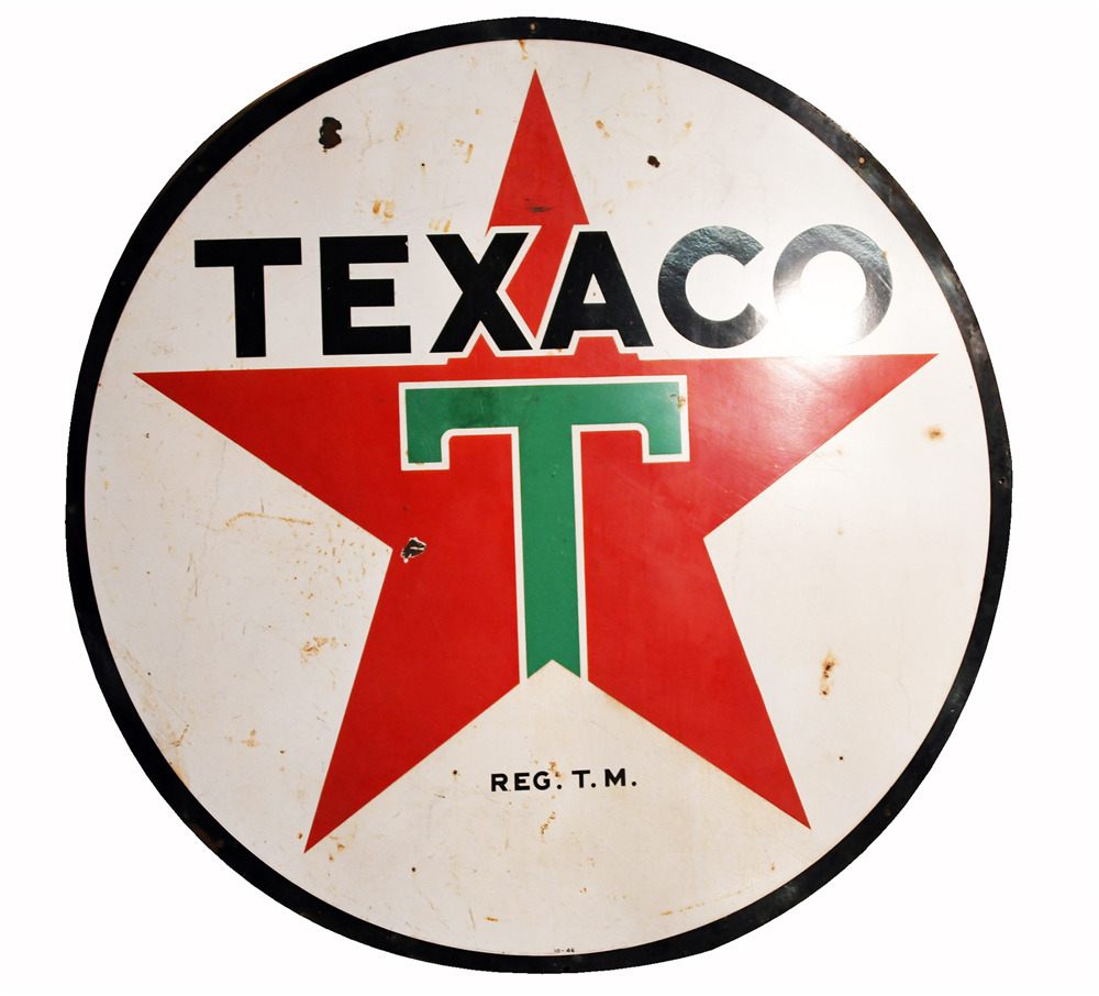 LARGE 1946 TEXACO OIL DOUBLE-SIDED PORCELAIN SERVICE STATION