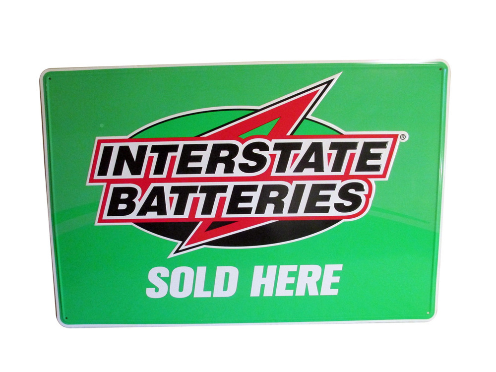 Who Makes Interstate Batteries >> Nos Interstate Batteries Sold Here Embossed Tin Sign