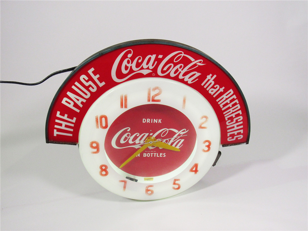 1950S COCA-COLA NEON DINER CLOCK WITH LIGHTED ADVERTISING MAR