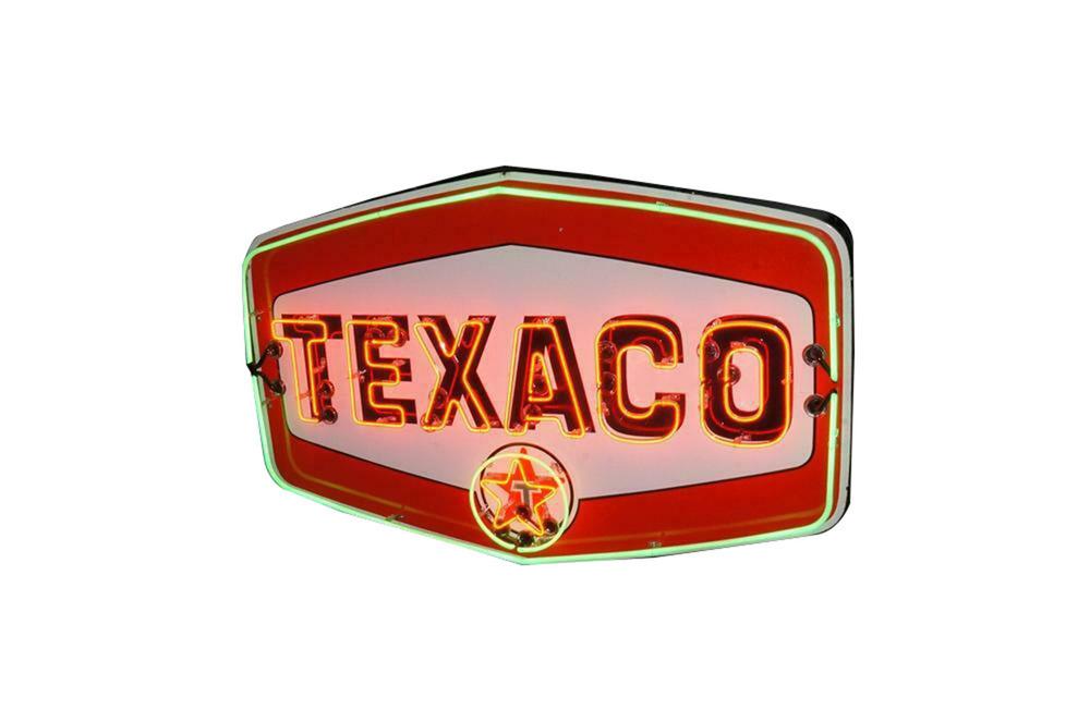 LATE 1950S TEXACO OIL ANIMATED NEON PORCELAIN SIGN