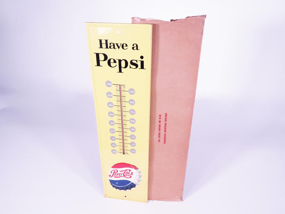 5¢ Pepsi-Cola Advertising Tin Thermometer
