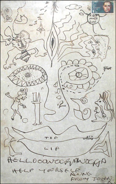 John Lennon Original Drawing With Annotations From 1967 A Fa