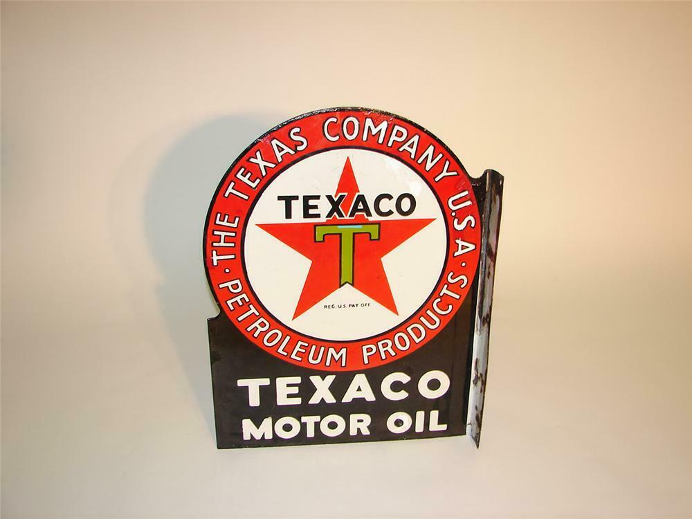 1930s Texaco Motor Oil doublel-sided porcelain flange sign