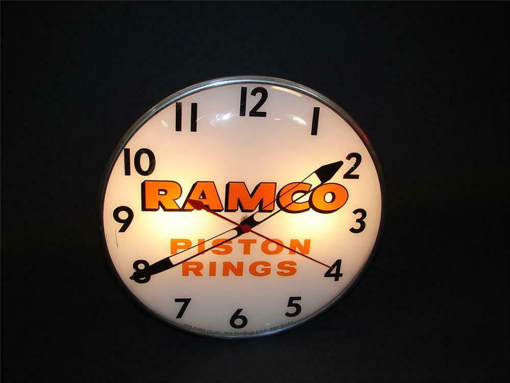 1950s Ramco Piston Rings glass faced light-up station clock