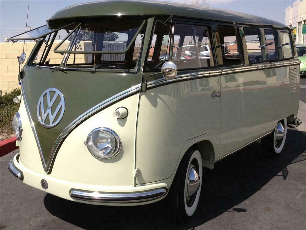 1958 volkswagen deluxe 15 window bus - front 3/4 - 151721
